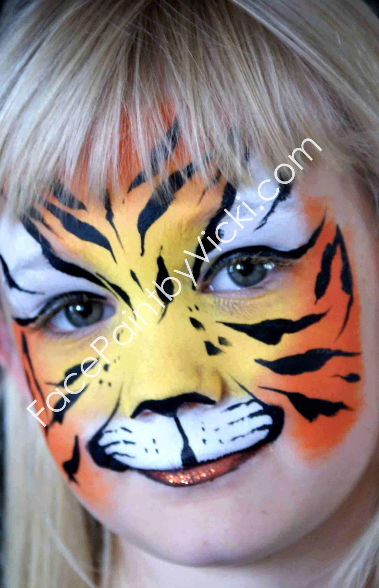 tiger face painting for kids